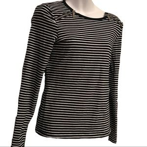 Michael Kors Striped Navy Zippered Shirt Small